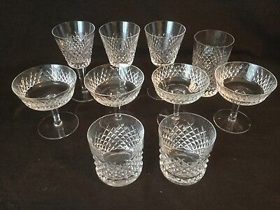 Waterford Crystal Alana Champagne Old Fashioned Tumbler Claret Wine Set 10 AS IS