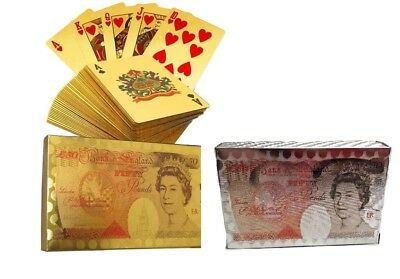 24K Gold Silver Plated Foil Playing Cards £ UK Sterling Poker Game Snap Casino