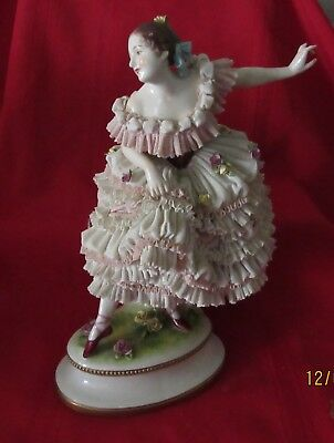 Antique Dresden Lace Figurine Lady Dancing Marked 12 Inches High