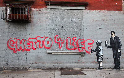 "Banksy, Ghetto For Life, Graffiti Art, Giclee Canvas Print, 10""x16"""