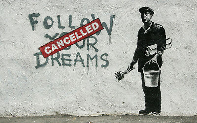 "Banksy, Follow Your Dreams, Graffiti Art, Giclee Canvas Print, 10""x16"""
