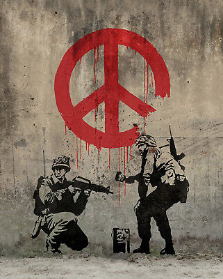 "Banksy, Soldiers Painting Peace, Graffiti Art, Giclee Canvas Print, 10.75""x16"""