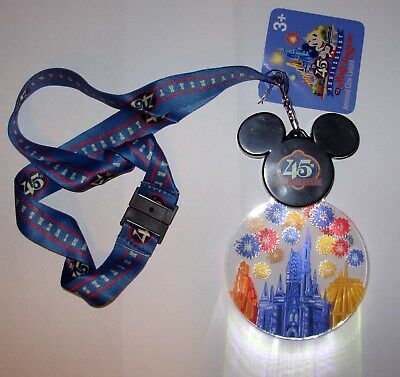 Disney 45th Anniversary The Magic Kingdom Mickey Mouse Light Up Lanyard NEW