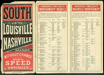 1881 Louisville & Nashville Railroad Time Tables AS FOUND