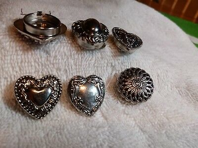 Ladies Set Of 6 Silver Button Covers Vintage