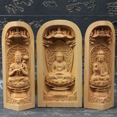Collection Chinese Boxwood Handmade Carved Three Saints Open Box