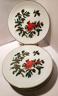 Vintage Lefton Christmas Plates Cardinal Bird and Holly SET OF 6 PLATES 8""