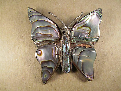 Antique Vintage Old Mexican Signed 925 Sterling Silver Brooch Pin