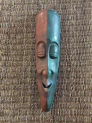 Tribal Mask: wood Nepal red & green, hand-carved.