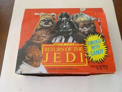 1983 TOPPS STAR WARS RETURN OF THE JEDI CANDY HEADS - 18 CT BOX - NOS - w/Candy