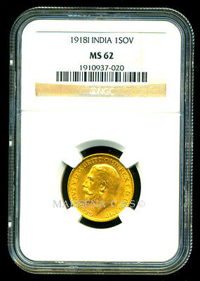 India Gv 1918 I Gold Coin Sovereign * Ngc Certified Genuine Ms 62 * Exquisite