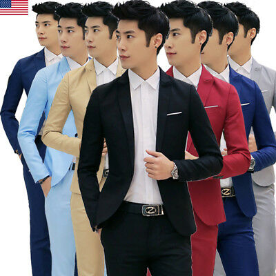 US Mens Casual Slim Fit One Button Suit Blazer Business Coat Jacket With Pocket