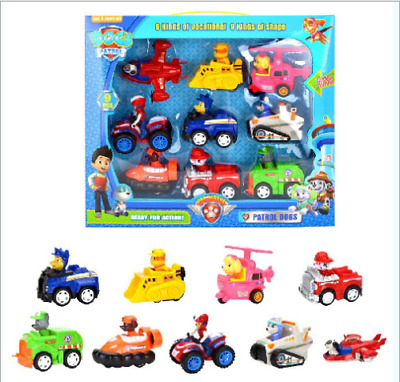 9Pcs Racer Car Paw Patrol Hund Marshall Rubble Chase Everest Kinder Spielzeug