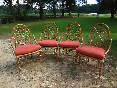 Set of 4 Vintage McGuire Cracked Ice Rattan Bamboo Chairs, All Original, Nice!