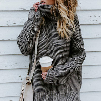 Warm Womens Warm Turtleneck Elasticity Sweater Loose Thick Knitted Top Soft Tops