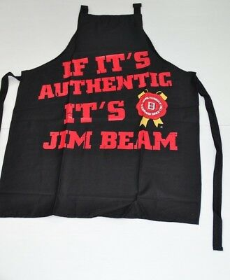 Jim Beam Bourbon Authentic Brand New Black & Red BBQ Apron One Size Fits Most
