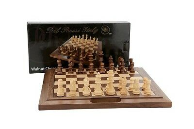 Folding Chess Set 40cm Walnut  Bevelled Edge Hand Crafted by Dal Rossi Italy
