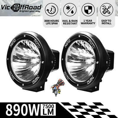 2X 7inch 100W HID XENON  Driving Lights Spotlight Offroad Lamp UTE 4x4 Work