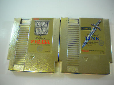 The Legend of Zelda and Adventures of Link (Nintendo Nes) Gold Carts I II