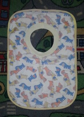 BABY BOYS ONE SIZE white blue orange & blue bib CUTE! DOGS!