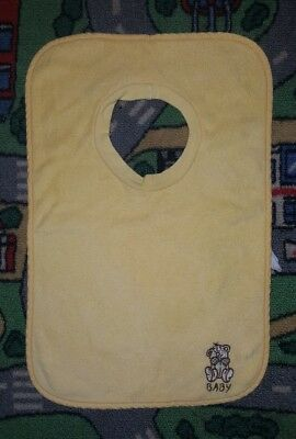 BABY BOYS ONE SIZE yellow bib CUTE! TEDDY BEAR!