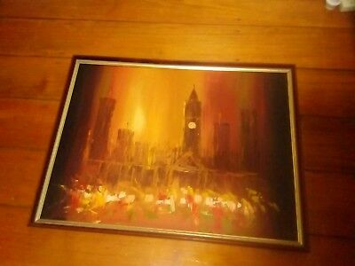 lovely old oil painting, night scene, artwork, vintage