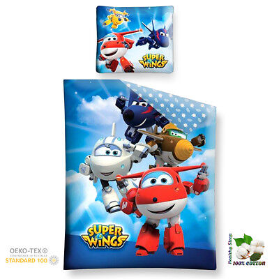 SUPER WINGS Bedding Set 100% Cotton Duvet Cover and Pillow Case Official Product