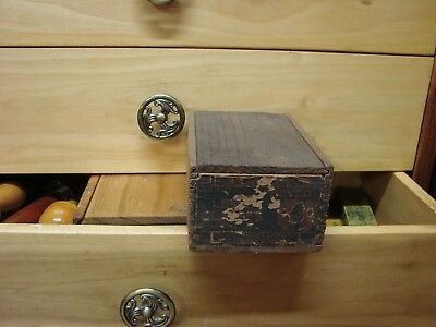"""Antique Stanley 4"""" and 3-1/2"""" Proved Level Glasses Finger Joint Wood Box NR"""
