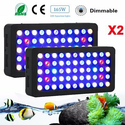 2X 165W LED Aquarium Light SPS/LPS Coral Reef Marine Full Spectrum Dimmable MY