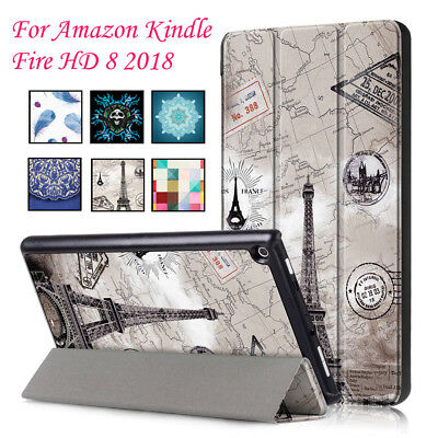 LK For Amazon Kindle Fire HD8 2018 Sleep/Wake Painted Trifold Leather Case Cover