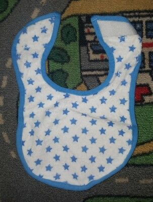 BABY BOYS Sz ONE SIZE white & blue TINY LITTLE WONDERS bib VELCRO TAB! STARS!