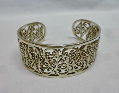 Gorgeous Vintage Sterling Silver Fancy Filigree Cuff Bracelet By Parenti / Italy