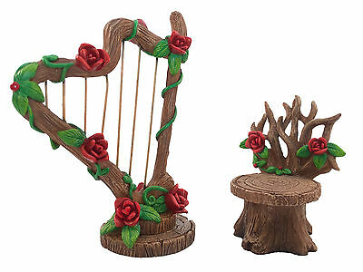 Miniature Fairy Garden Accessory - Rose Harp and Chair Set by GlitZGlam