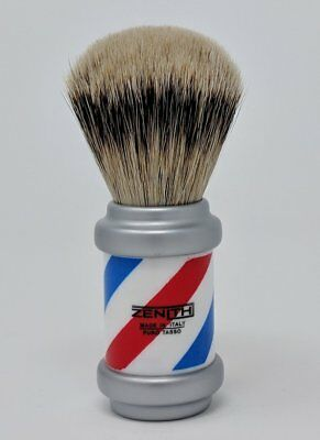Zenith Barberpole Silvertip Badger Shave Brush. 26+mm. Made in Italy. P13