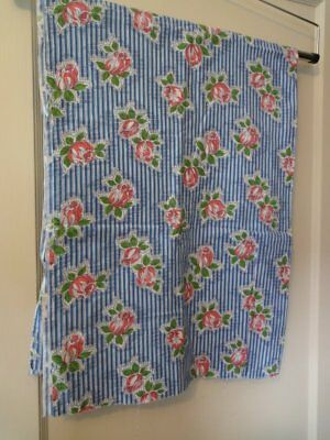 "Vintage Blue Cotton Feed Sack Fabric Pink Flowers 36"" x 48"" Quilting Crafts"