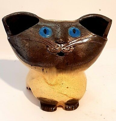 VINTAGE SCHAER AUSTRALIAN POTTERY RARE CAT with BLUE EYES