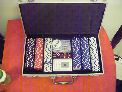 Poker chips, dice & cards in a carry box
