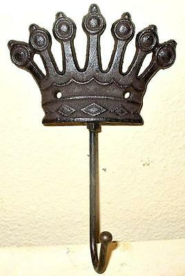 Cast Iron Metal Crown Hat Coat Robe Bathroom Towel Wall Hook Home Garden Decor