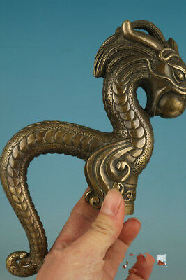 Chinese Bronze Hand Carved Dragon Statue Cane Walking Stick Head