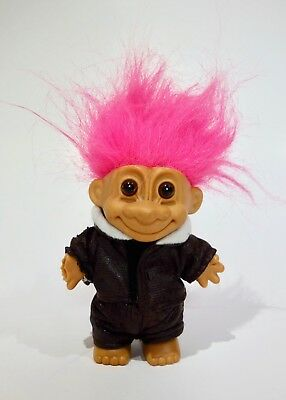 Russ Troll Doll Pilot/Motorcycle Rider with Pink Hair - Missing Hand