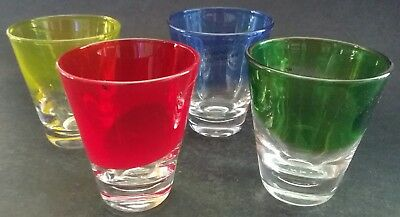 "Set of 4 Shot Glasses ""Christmas Blush"" Red, Blue, Yellow, Green. New In Box Bar"