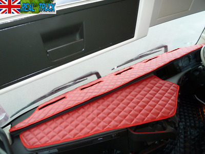 Truck Eco Leather Dash Mat Compatible  With  Volvo  Fh 4 2013+ [ Red ]