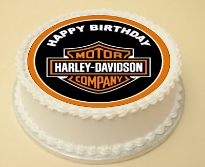 Excellent Harley Davidson Happy Birthday Edible Cake Cupcake Topper Wafer Funny Birthday Cards Online Fluifree Goldxyz