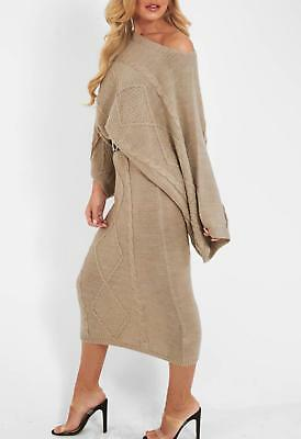 Batwing Sleeve Cable Knitted Beige Co Ord Set