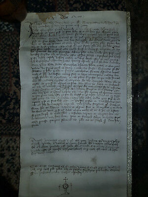 A 615 Years old manuscript on vellum scroll--dated Anno 1403:Medieval Middle Age
