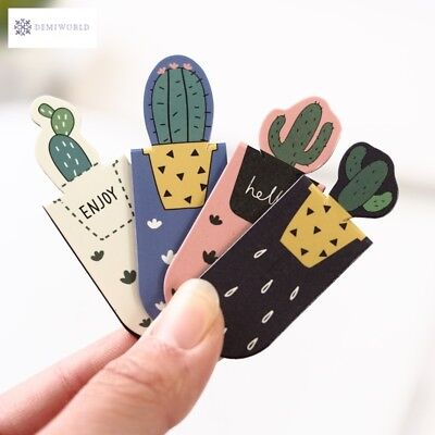 3pcs /Set Fresh Cute Cactus Sakura Magnetic Bookmarks Books Marker of Page Stude