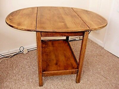 1950 Lovely Vintage Solid Oak drop leaf table stripped & waxed to original wood