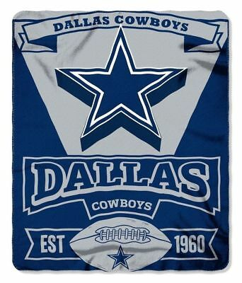 "Dallas Cowboys Fleece Blanket Throw 50 X 60 ""Marque"" Northwest Licensed NFL New"