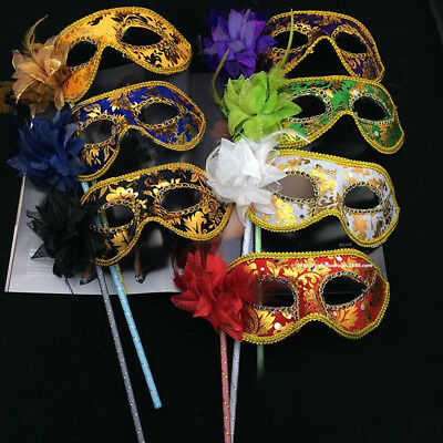 1Pc Venetian Masquerade Eye Mask On Stick Mardi Halloween for Party Prom Ball #S