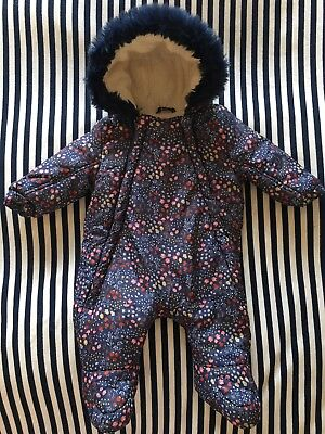 Navy Patterned Fur And Fleece Lined Snowsuit / Pramsuit 0-3m Baby Hardly Worn